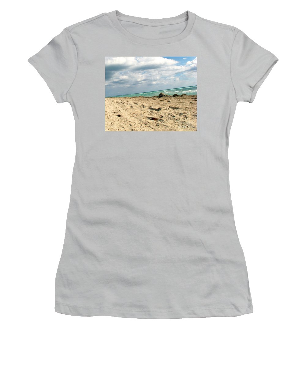 Miami Women's T-Shirt (Athletic Fit) featuring the photograph Miami Beach by Amanda Barcon