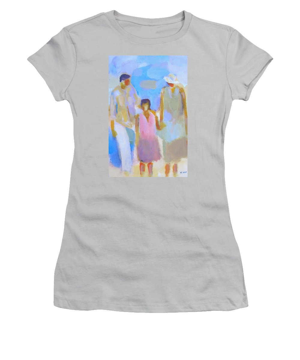 Abstract Women's T-Shirt (Athletic Fit) featuring the painting 3 With Love by Habib Ayat
