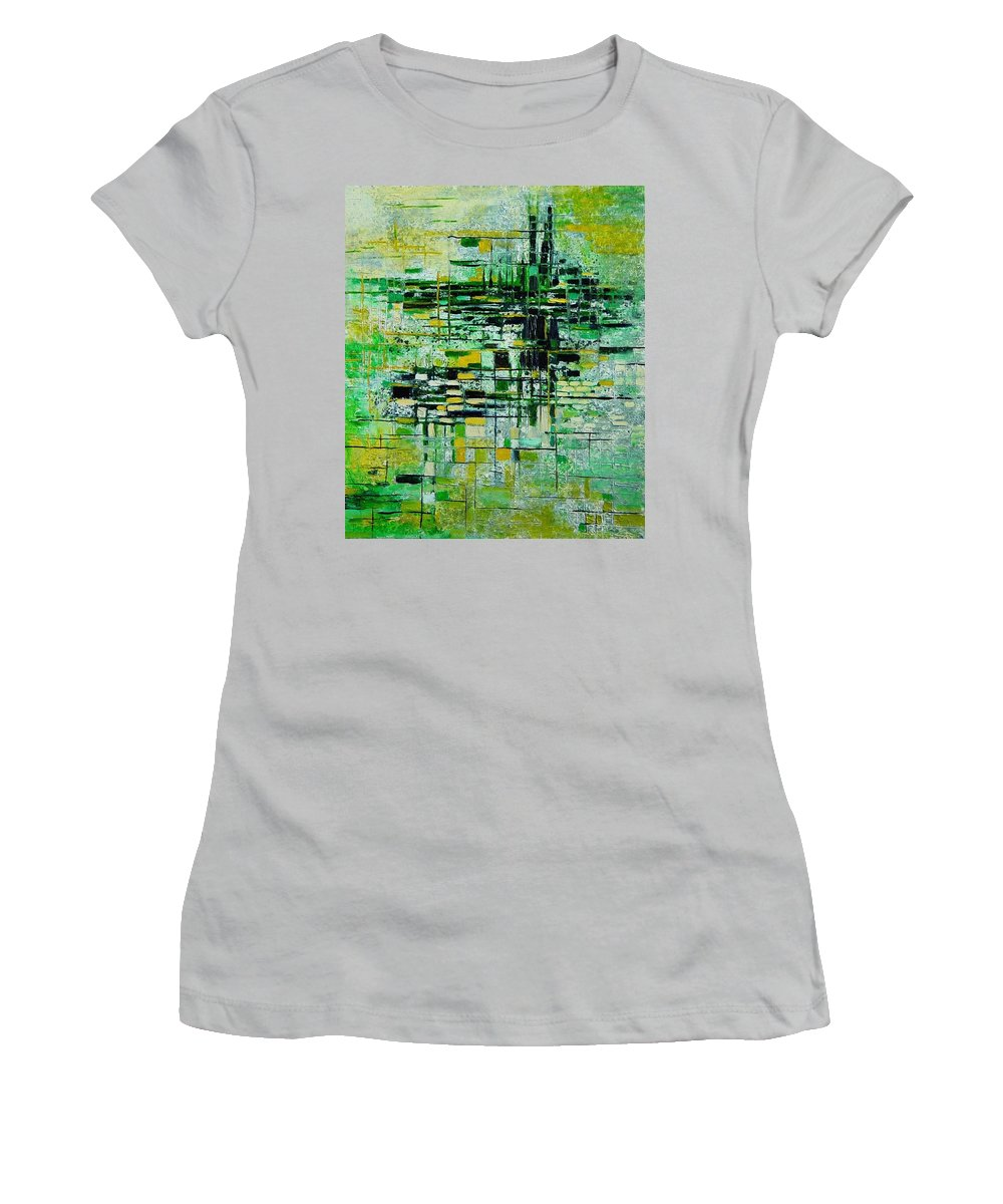 Abstract Women's T-Shirt (Athletic Fit) featuring the painting Abstract 5 by Pol Ledent