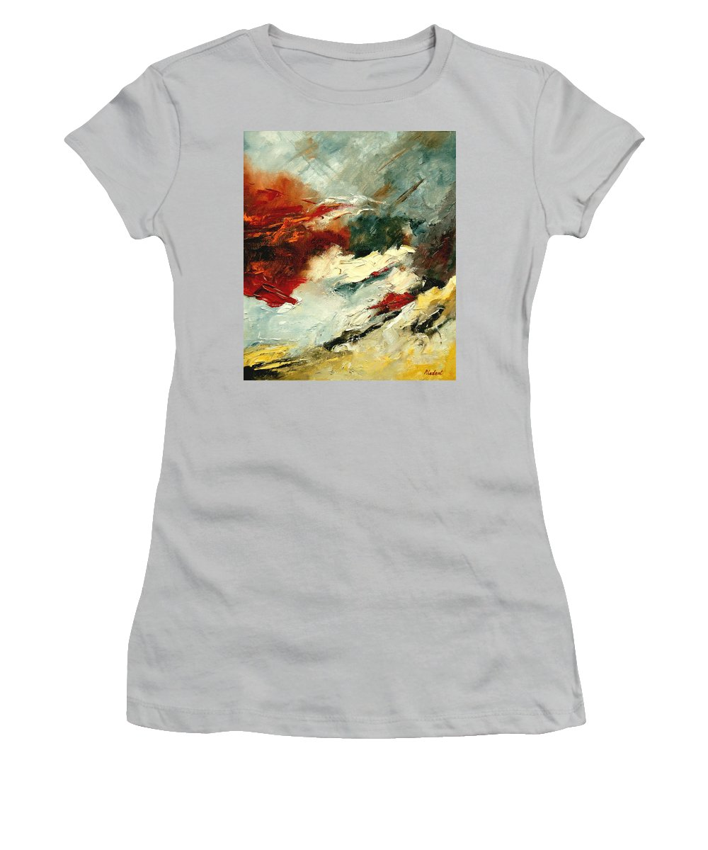 Abstract Women's T-Shirt (Athletic Fit) featuring the painting Abstract 9 by Pol Ledent