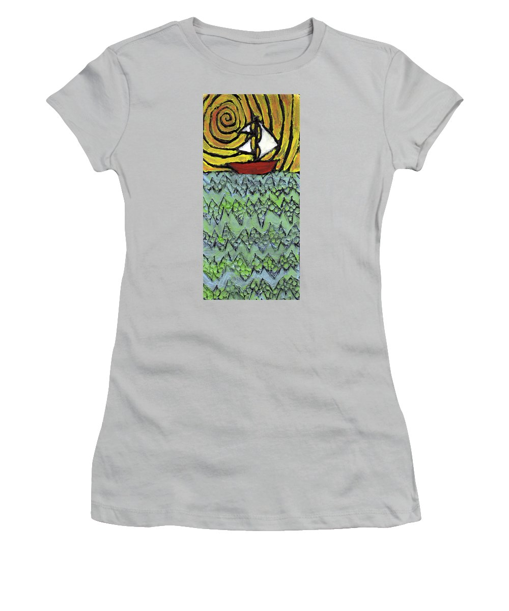 Sailing Women's T-Shirt (Athletic Fit) featuring the painting Afloat On The Bubbling Sea by Wayne Potrafka