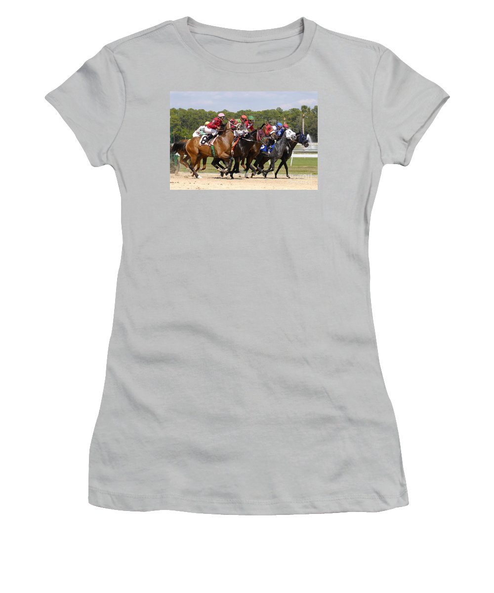 Horse Racing Women's T-Shirt (Athletic Fit) featuring the photograph And Their Off by David Lee Thompson