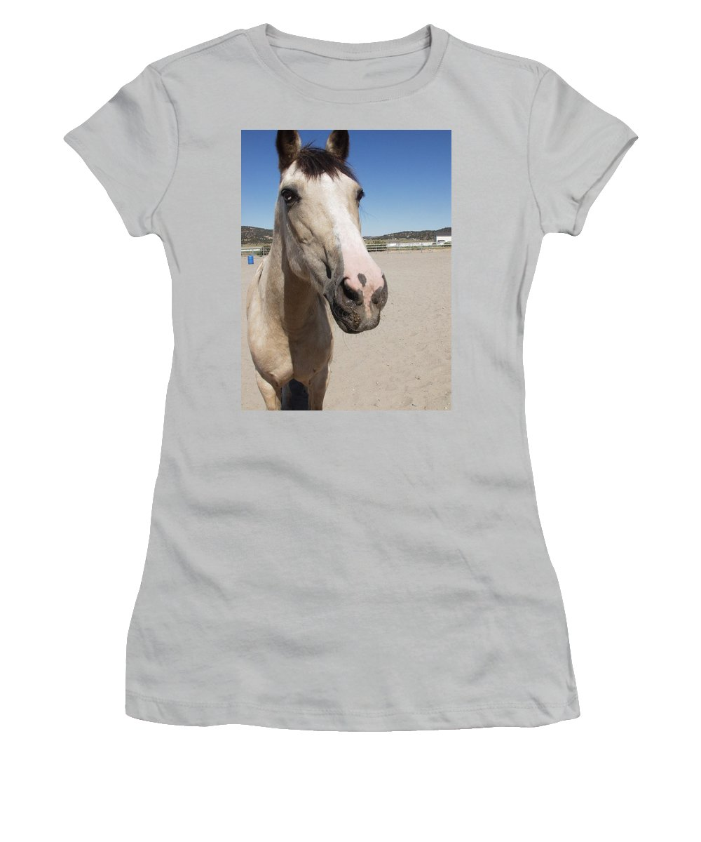 Horses Women's T-Shirt (Athletic Fit) featuring the photograph Any Carrots by Jamey Balester