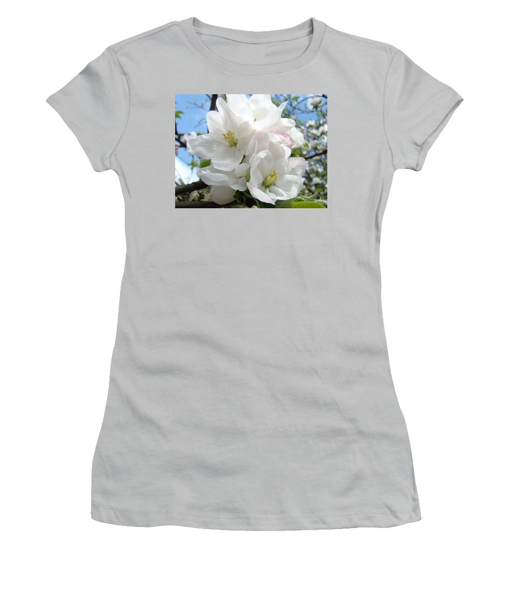 �blossoms Artwork� Women's T-Shirt (Athletic Fit) featuring the photograph Apple Blossoms Art Prints Giclee 48 Spring Apple Tree Blossoms Blue Sky Macro Flowers by Baslee Troutman