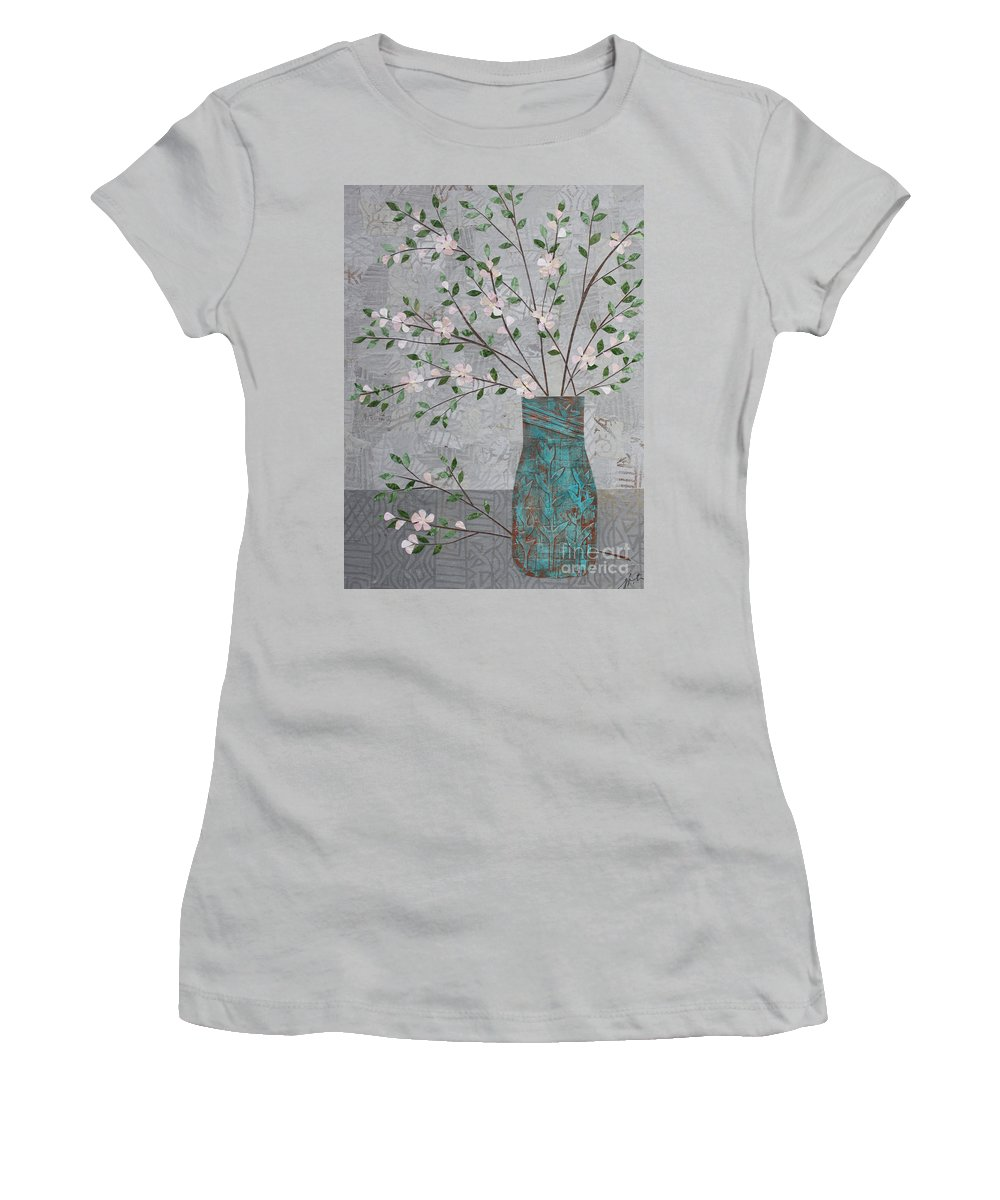 Art Collage Women's T-Shirt (Athletic Fit) featuring the mixed media Apple Blossoms In Turquoise Vase by Janyce Boynton