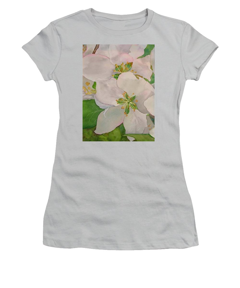 Apple Blossoms Women's T-Shirt (Athletic Fit) featuring the painting Apple Blossoms by Sharon E Allen