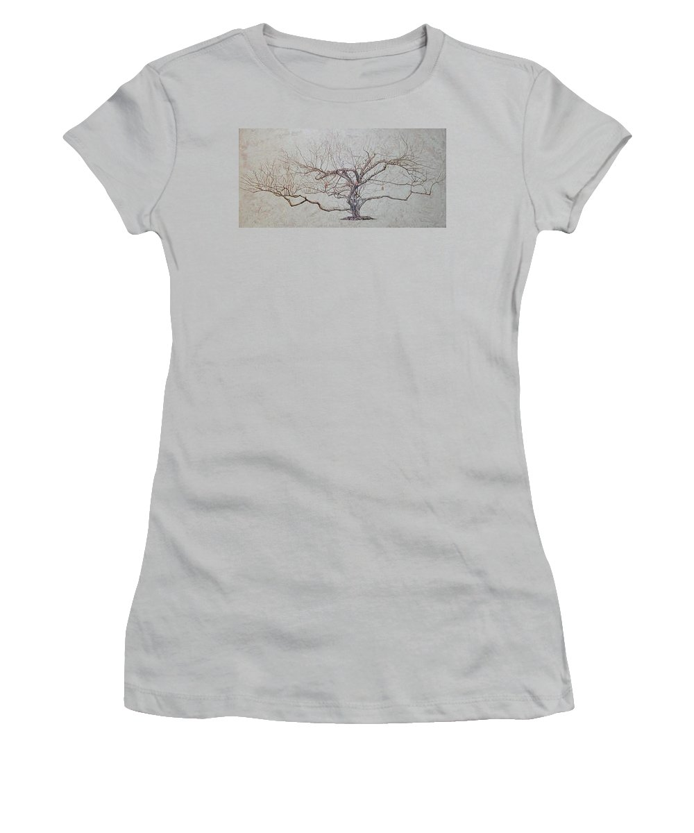 Apple Tree Women's T-Shirt (Athletic Fit) featuring the painting Apple Tree In Winter by Leah Tomaino