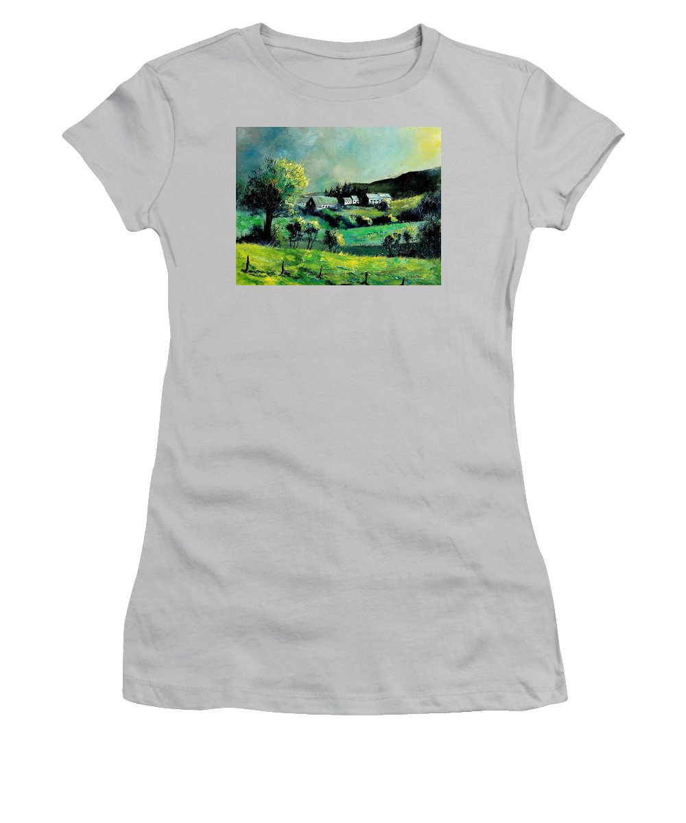 Spring Women's T-Shirt (Athletic Fit) featuring the painting Ardennes 79 by Pol Ledent