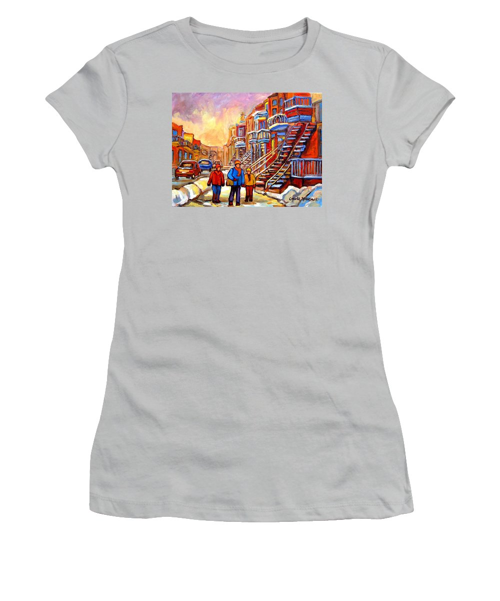 At The End Of The Day Women's T-Shirt (Athletic Fit) featuring the painting At The End Of The Day by Carole Spandau