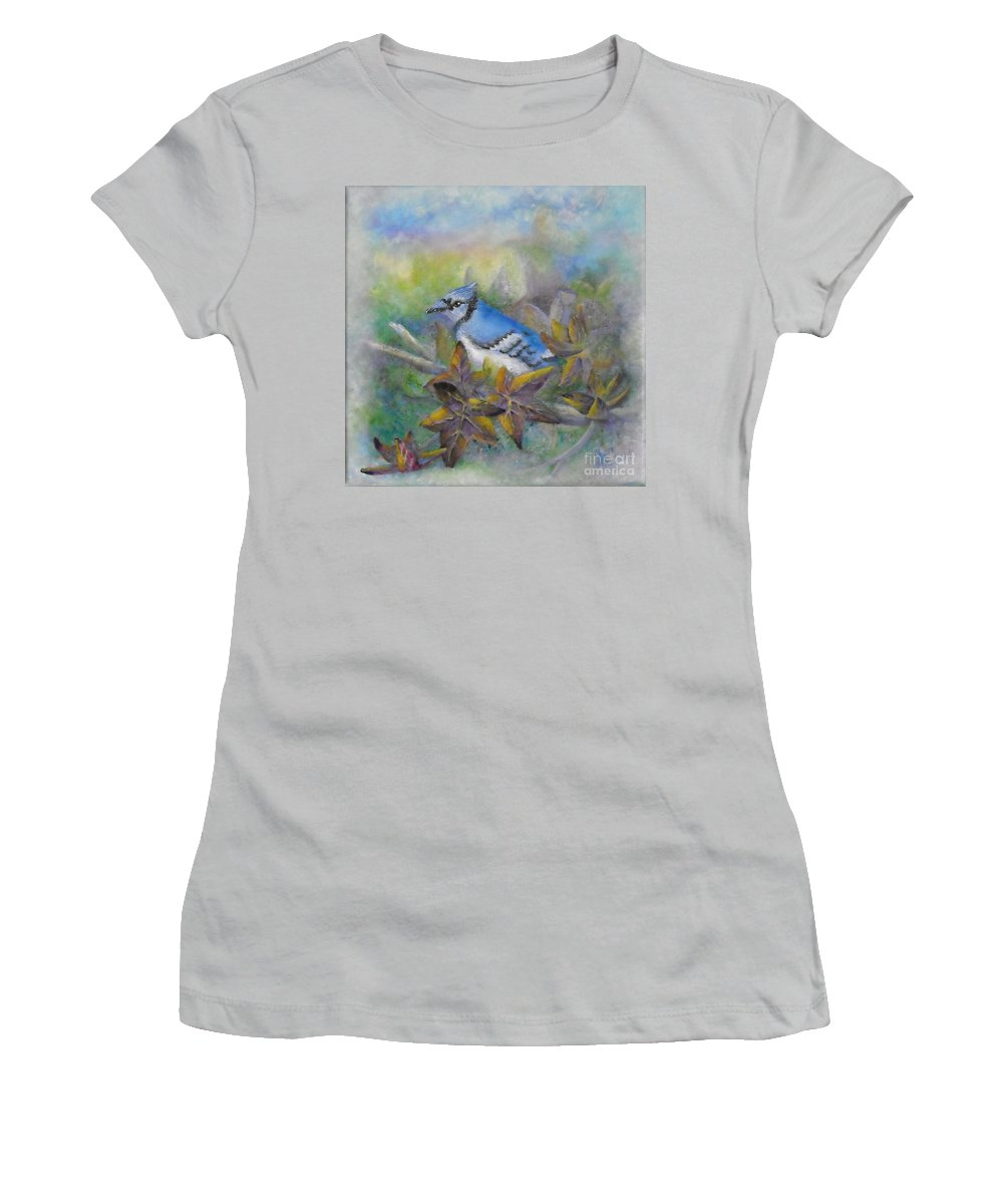 Autumn Women's T-Shirt (Athletic Fit) featuring the painting Autumn Sweet Gum With Blue Jay by Sheri Hubbard
