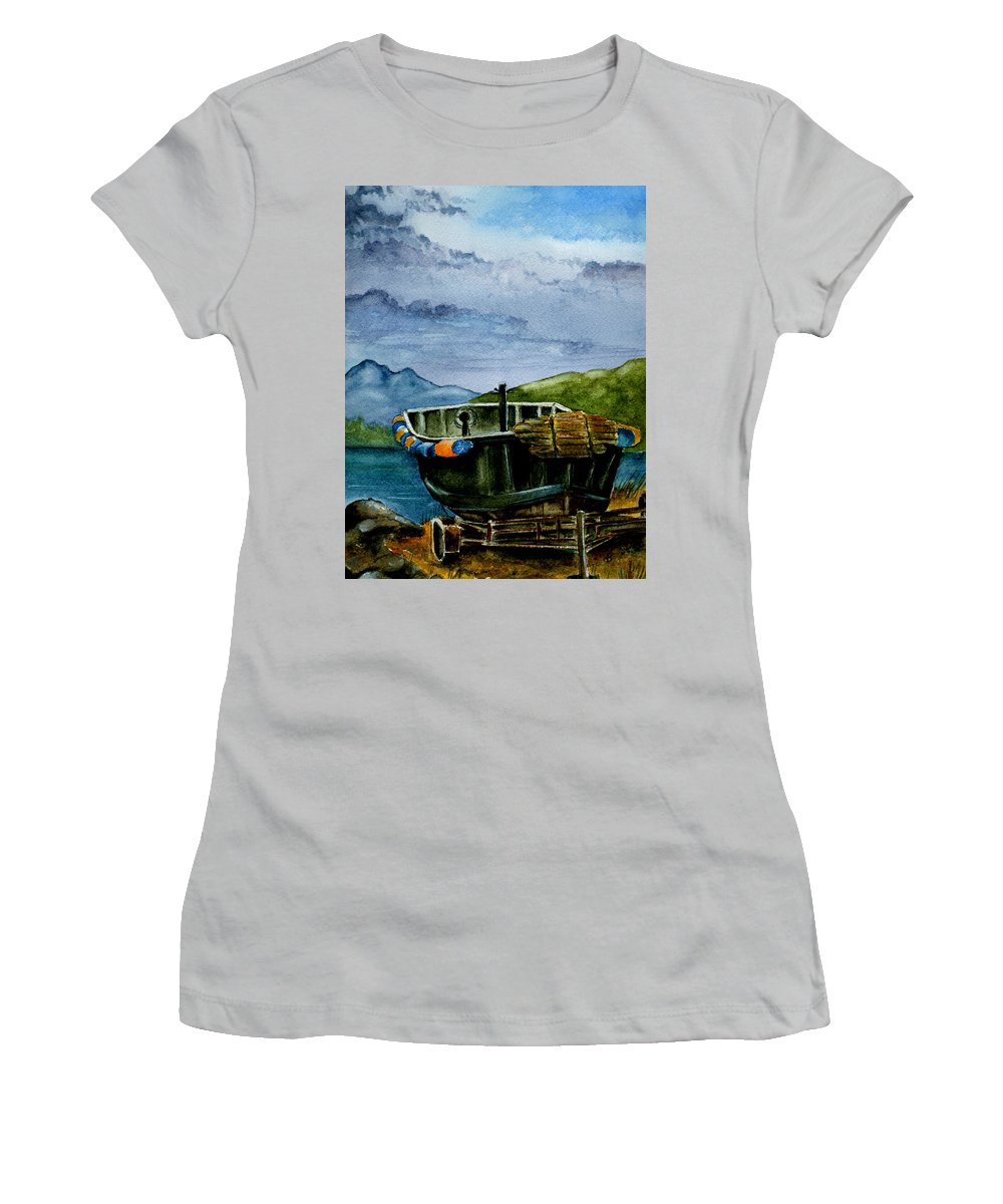 Watercolor Women's T-Shirt (Athletic Fit) featuring the painting Awaiting The Season by Brenda Owen