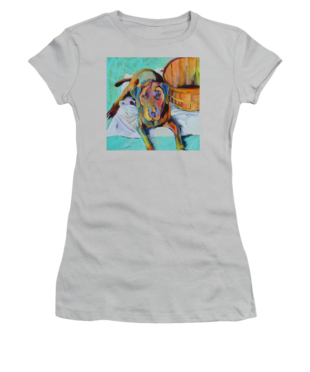 Chocolate Lab Women's T-Shirt (Athletic Fit) featuring the painting Basket Retriever by Pat Saunders-White