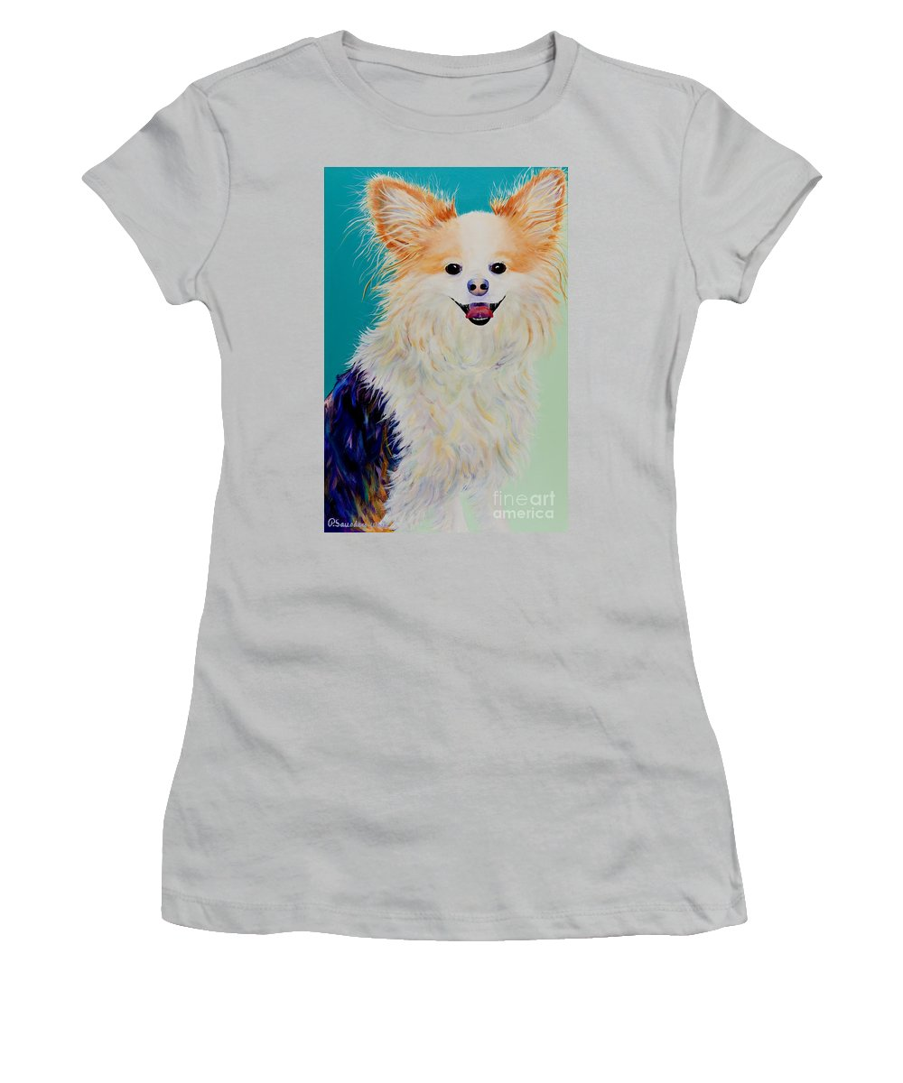 Animal Women's T-Shirt (Athletic Fit) featuring the painting Baxter by Pat Saunders-White