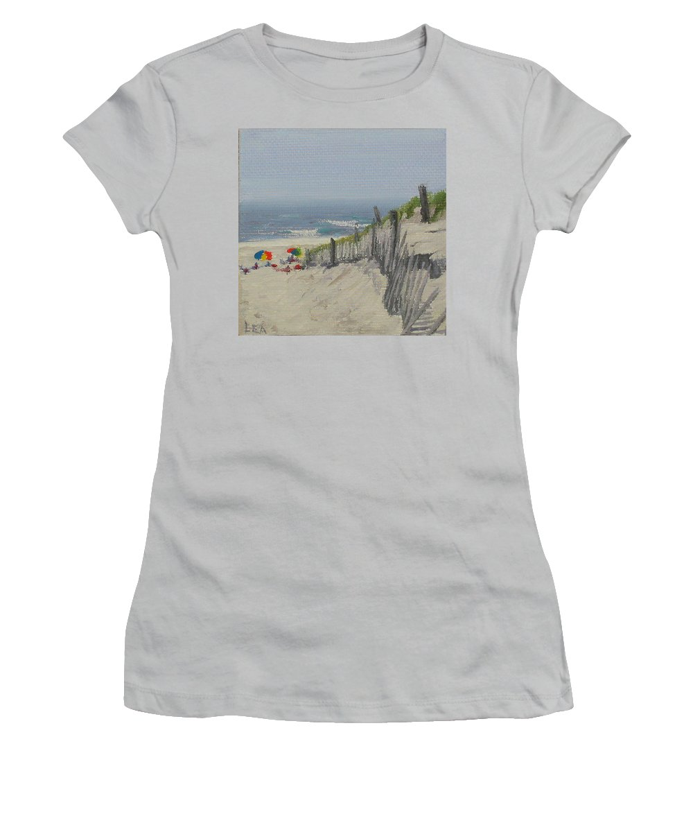 Beach Women's T-Shirt (Athletic Fit) featuring the painting Beach Scene Miniature by Lea Novak
