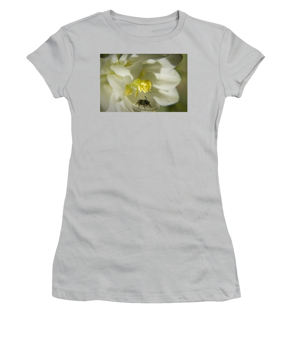 Columbine Women's T-Shirt (Athletic Fit) featuring the photograph Bee Mine by Teresa Mucha