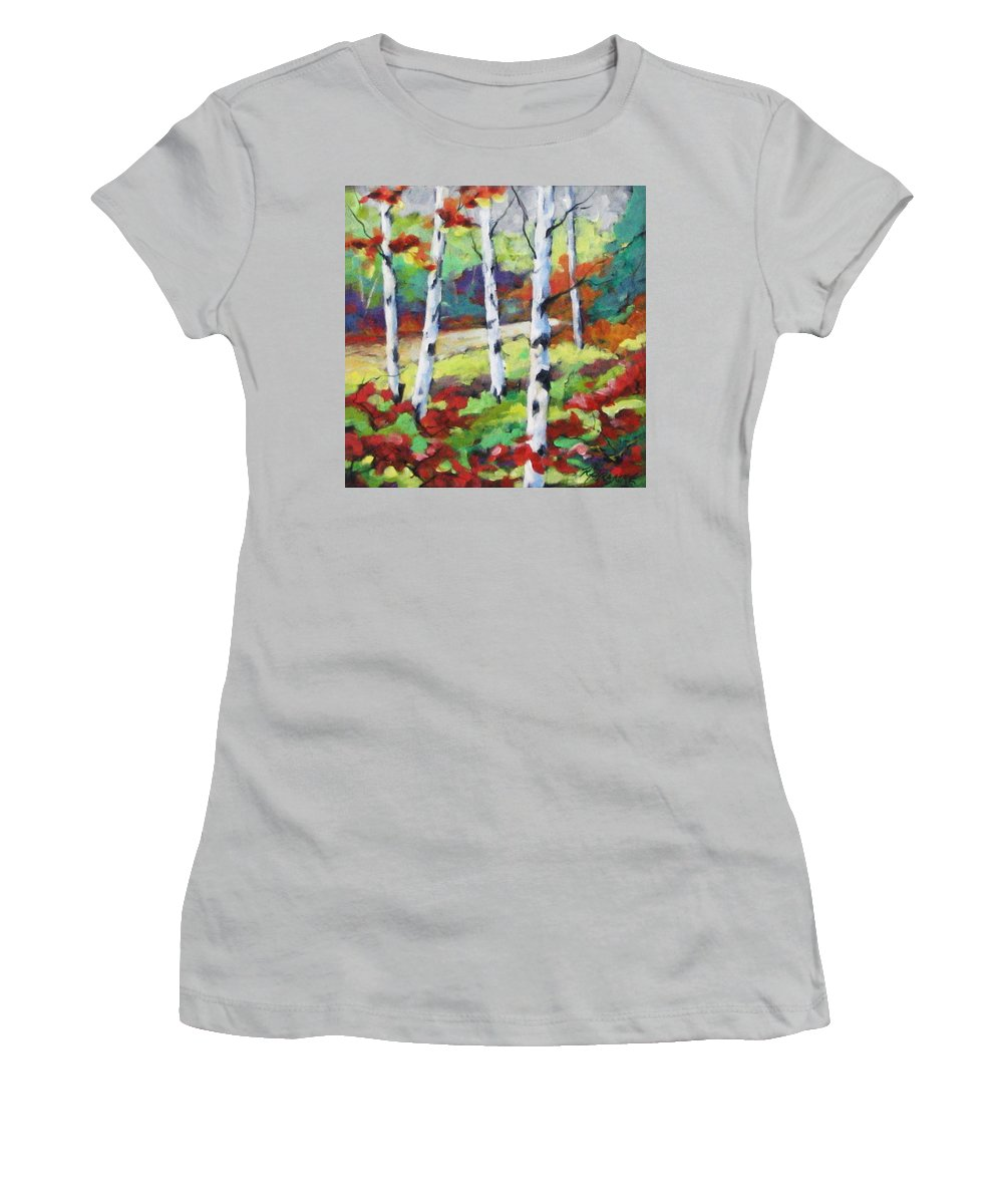 Art Women's T-Shirt (Athletic Fit) featuring the painting Birches 07 by Richard T Pranke