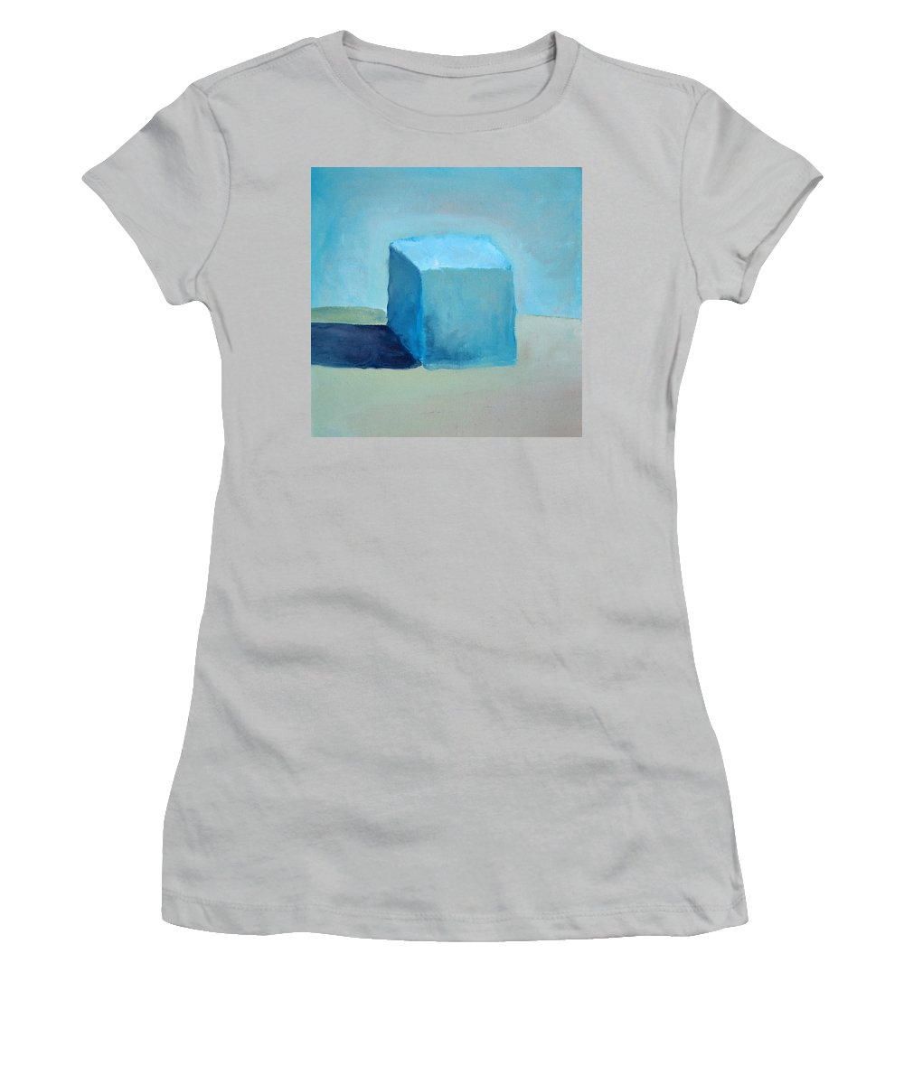 Blue Women's T-Shirt (Athletic Fit) featuring the painting Blue Cube Still Life by Michelle Calkins