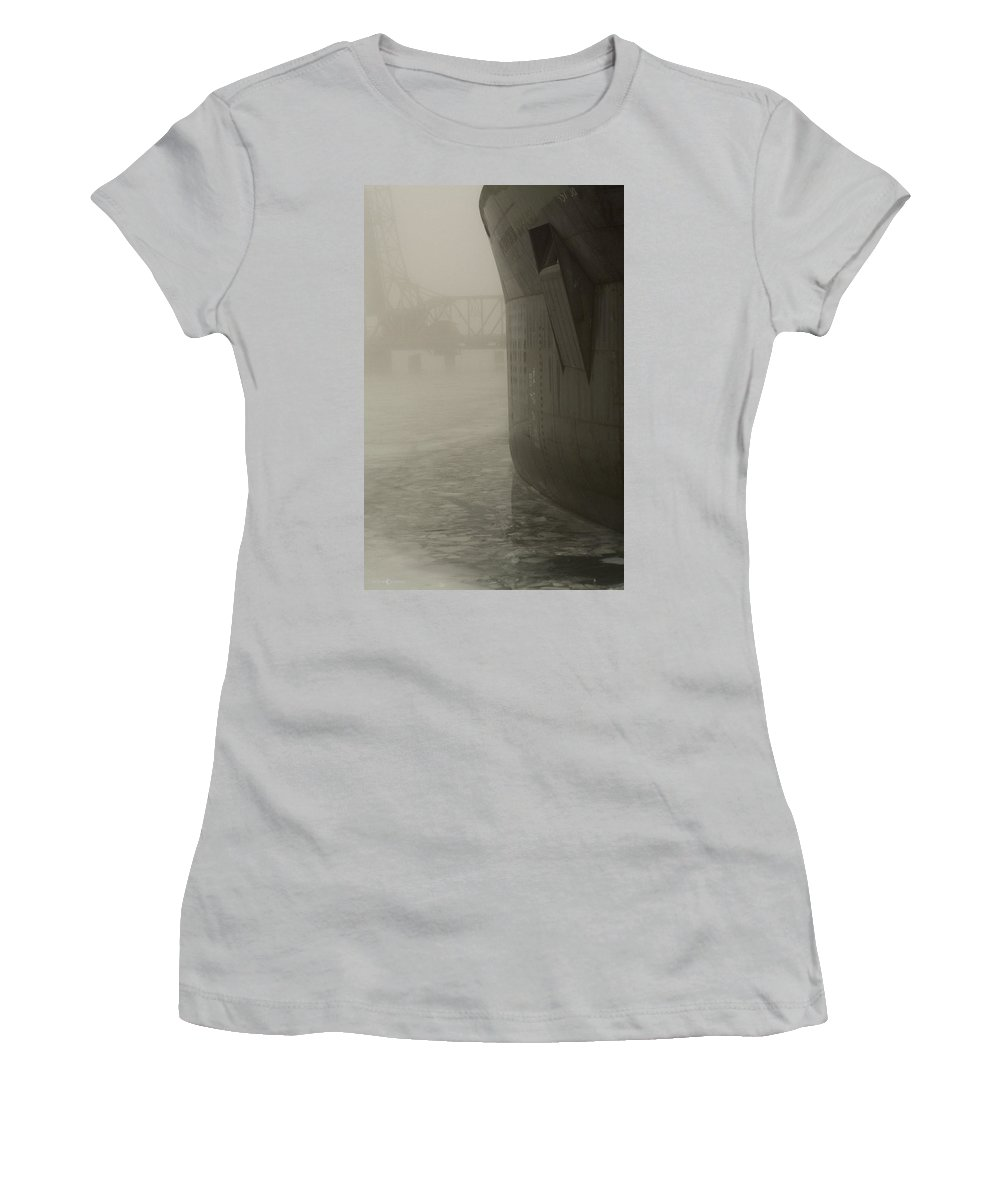Water Women's T-Shirt (Athletic Fit) featuring the photograph Bridge And Barge by Tim Nyberg