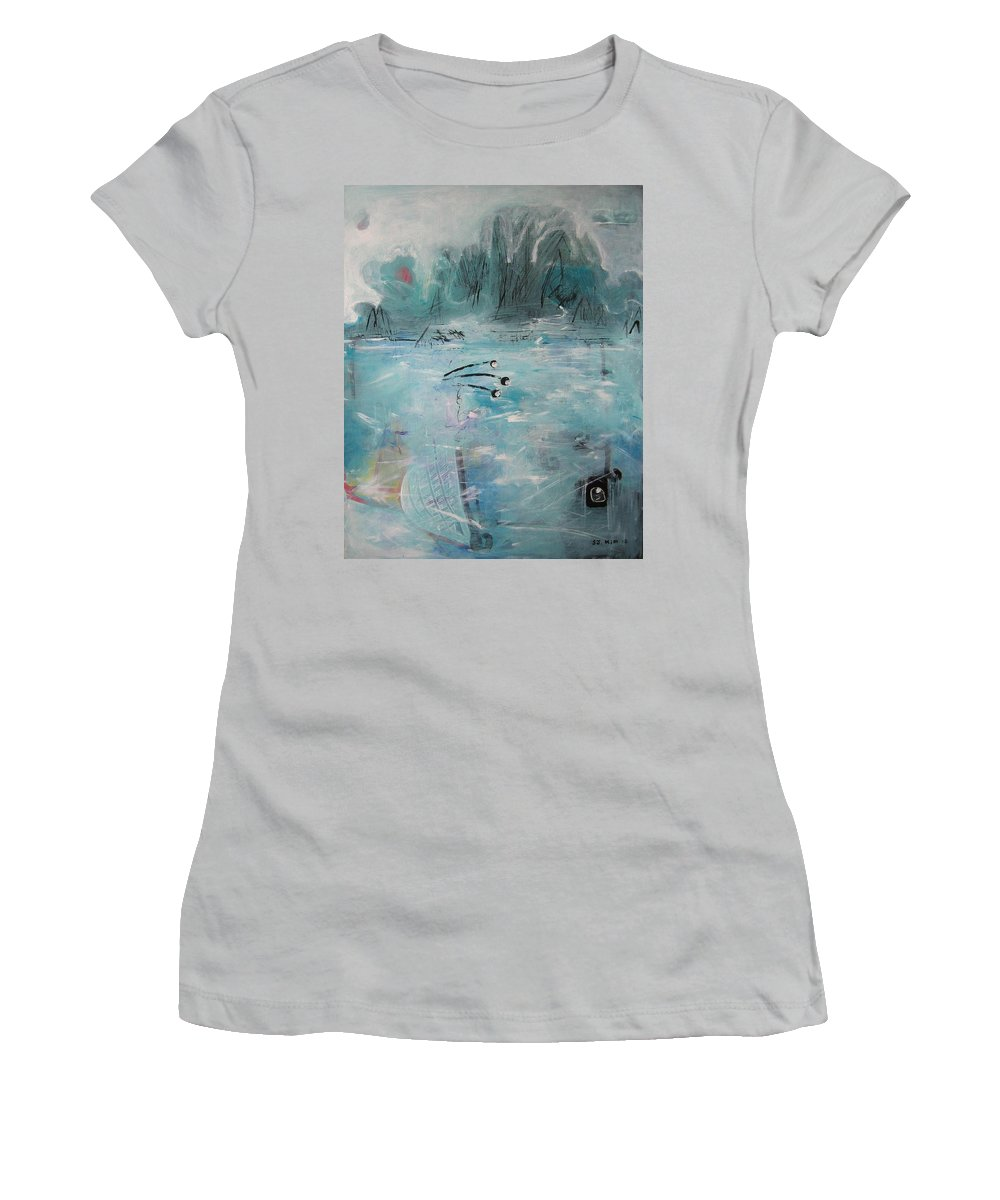 Abstract Paintings Women's T-Shirt (Athletic Fit) featuring the painting Brierly Beach by Seon-Jeong Kim
