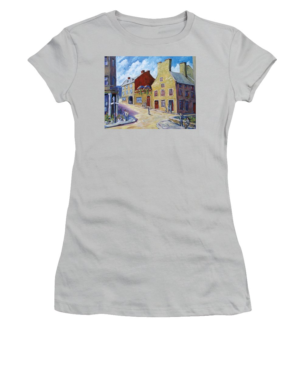 Rural Women's T-Shirt (Athletic Fit) featuring the painting Calvet House Old Montreal by Richard T Pranke