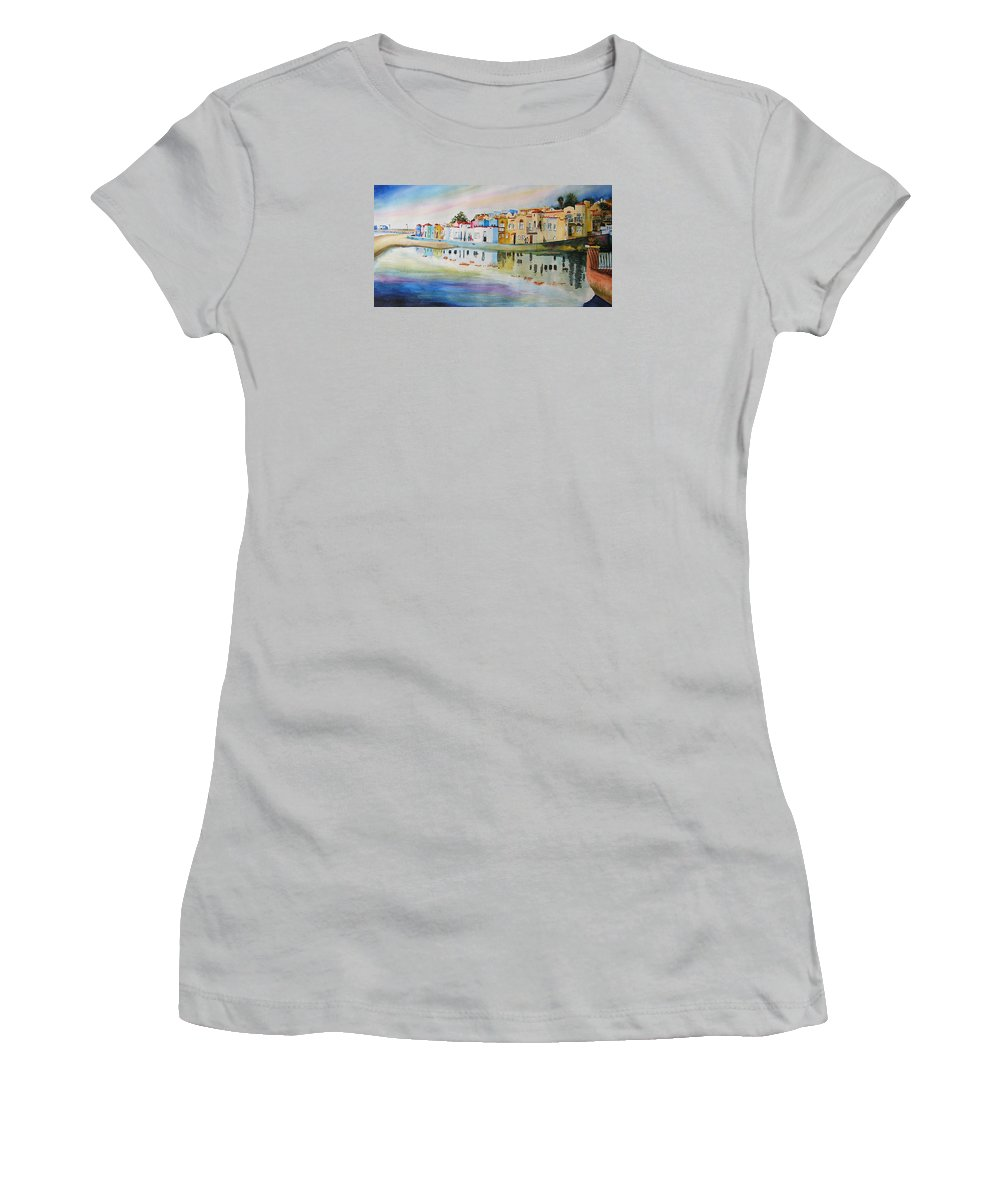 Capitola Women's T-Shirt (Athletic Fit) featuring the painting Capitola by Karen Stark