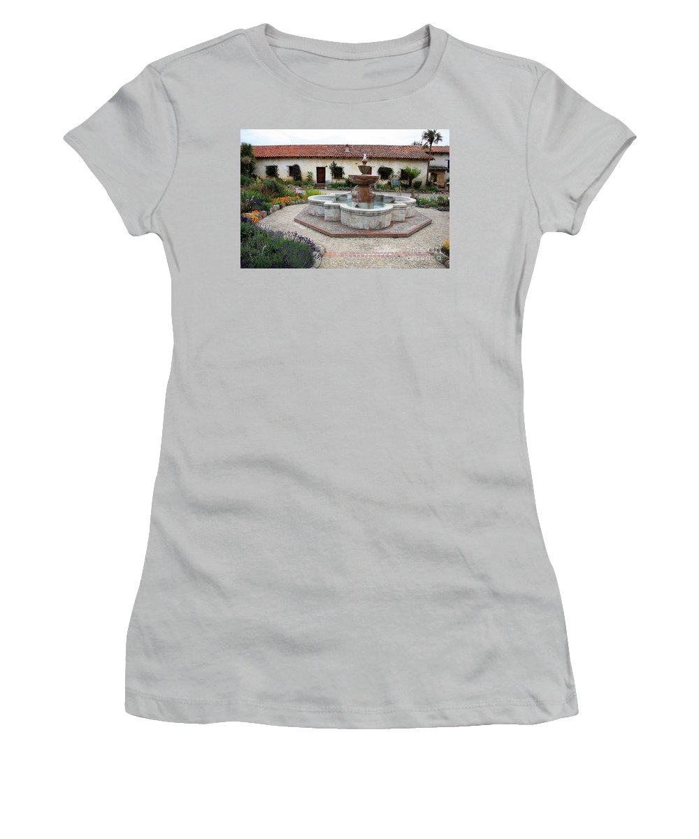 Catholic Women's T-Shirt (Athletic Fit) featuring the photograph Carmel Mission Courtyard by Carol Groenen