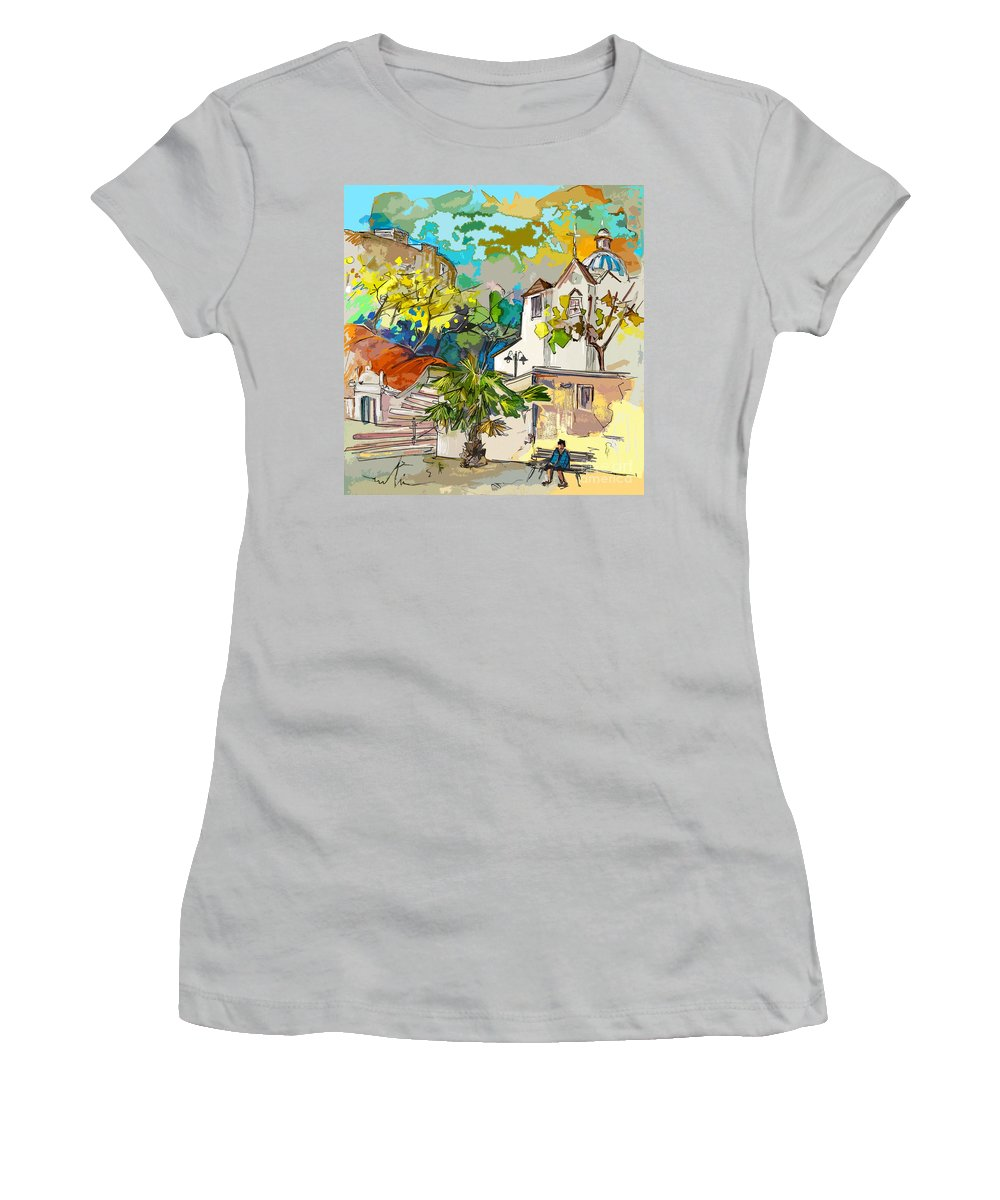Castro Marim Portugal Algarve Painting Travel Sketch Women's T-Shirt (Athletic Fit) featuring the painting Castro Marim Portugal 13 Bis by Miki De Goodaboom