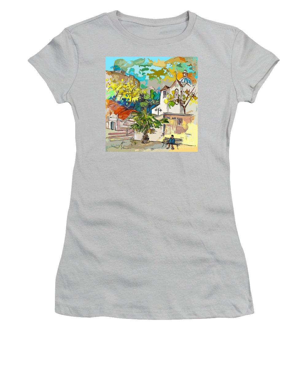 Castro Marim Portugal Algarve Painting Travel Sketch Women's T-Shirt (Athletic Fit) featuring the painting Castro Marim Portugal 13 Bis by Miki De Goodaboom