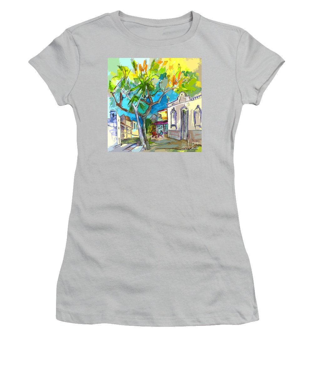 Castro Marim Portugal Algarve Painting Travel Sketch Women's T-Shirt (Athletic Fit) featuring the painting Castro Marim Portugal 14 Bis by Miki De Goodaboom