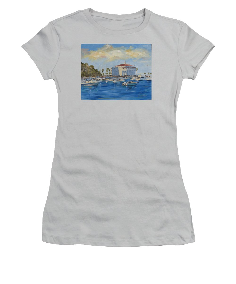 California Women's T-Shirt (Athletic Fit) featuring the painting Catallina Casino by Jay Johnson