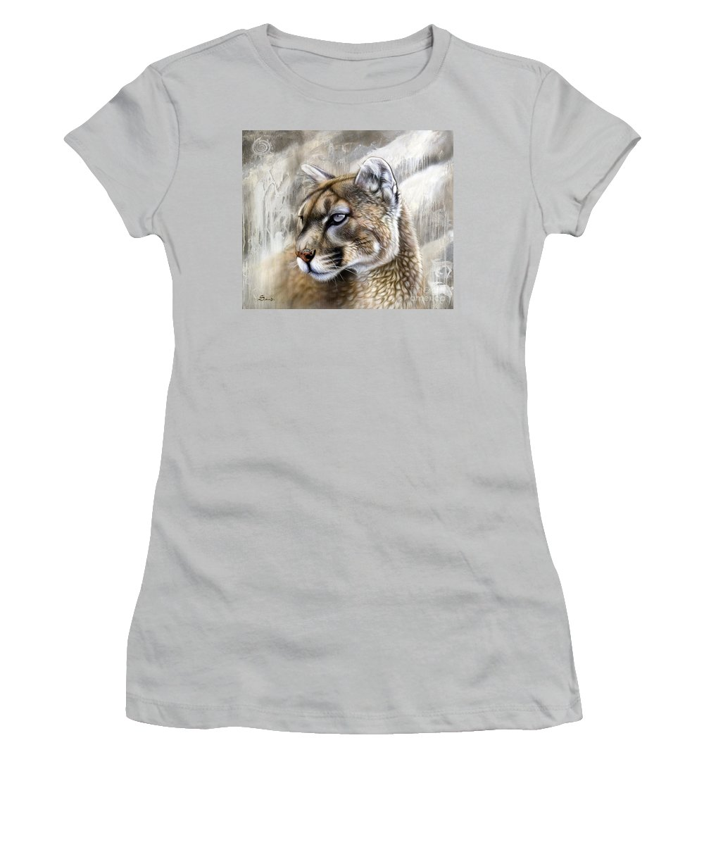 Acrylic Women's T-Shirt (Athletic Fit) featuring the painting Catamount by Sandi Baker