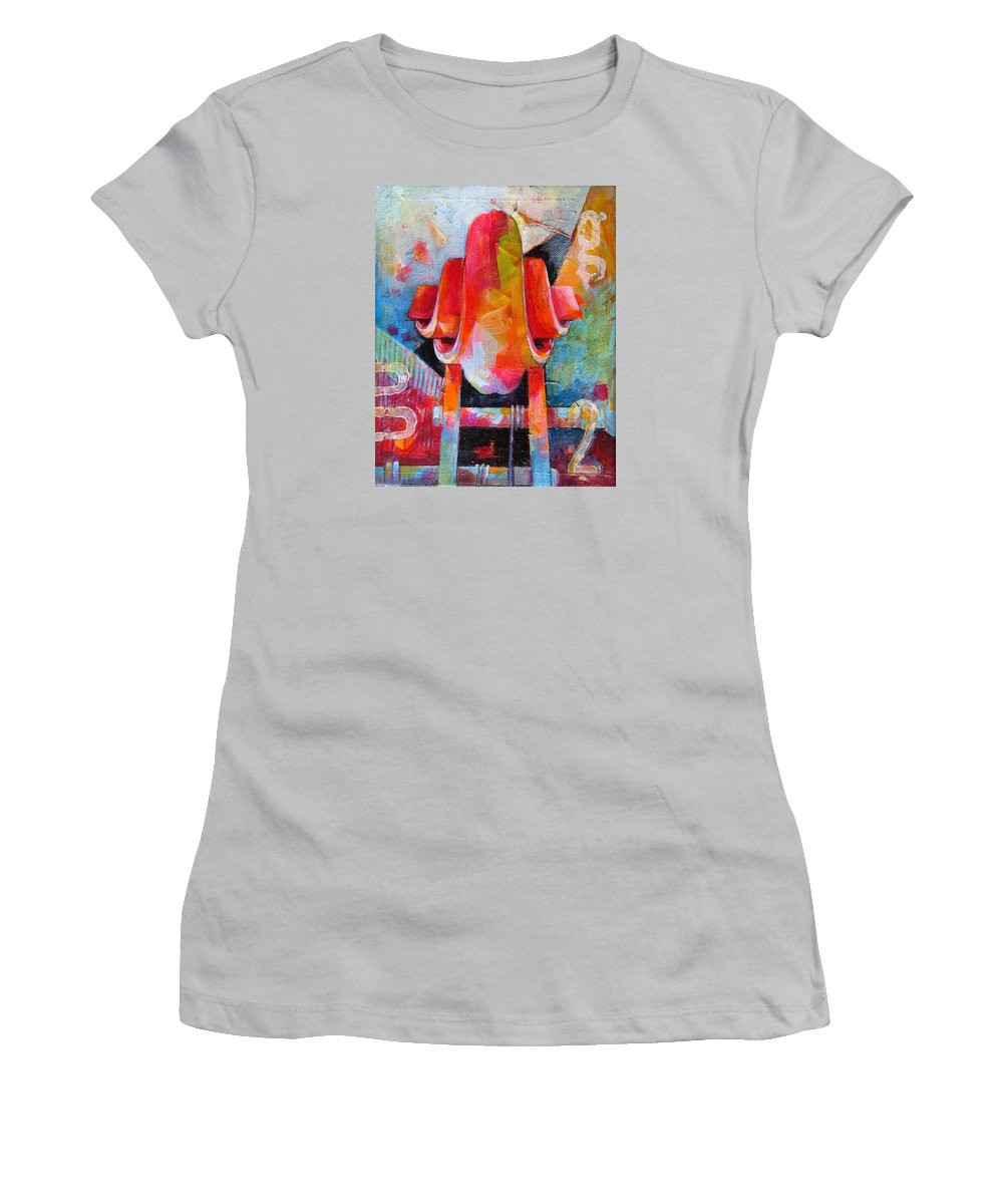 Musical Artwork Women's T-Shirt (Athletic Fit) featuring the painting Cello Head In Blue And Red by Susanne Clark