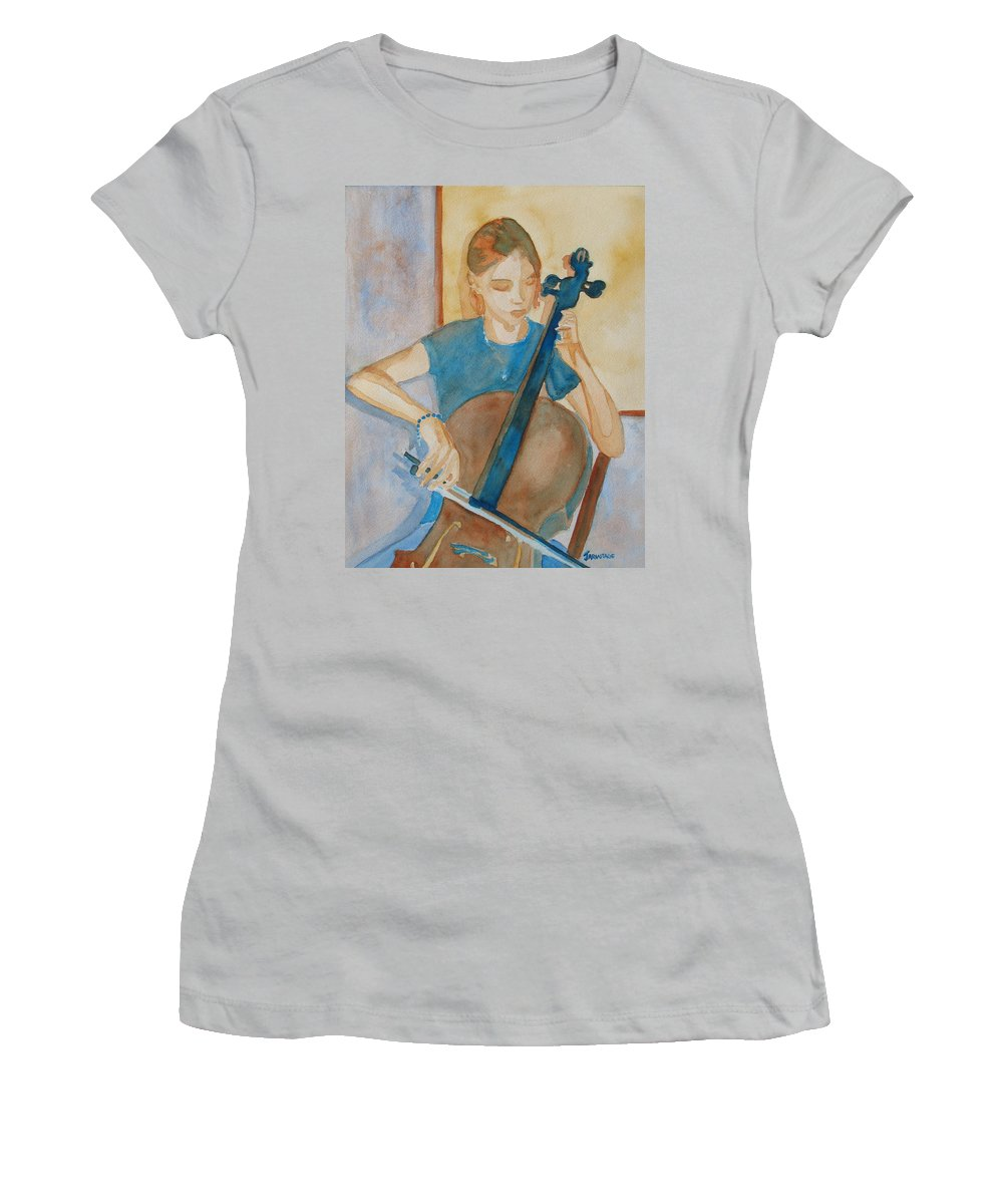 Girl Women's T-Shirt (Athletic Fit) featuring the painting Cello Practice Iv by Jenny Armitage