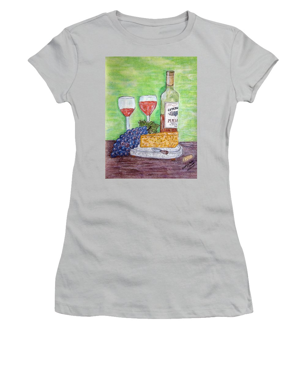 Cheese Women's T-Shirt (Athletic Fit) featuring the painting Cheese Wine And Grapes by Kathy Marrs Chandler