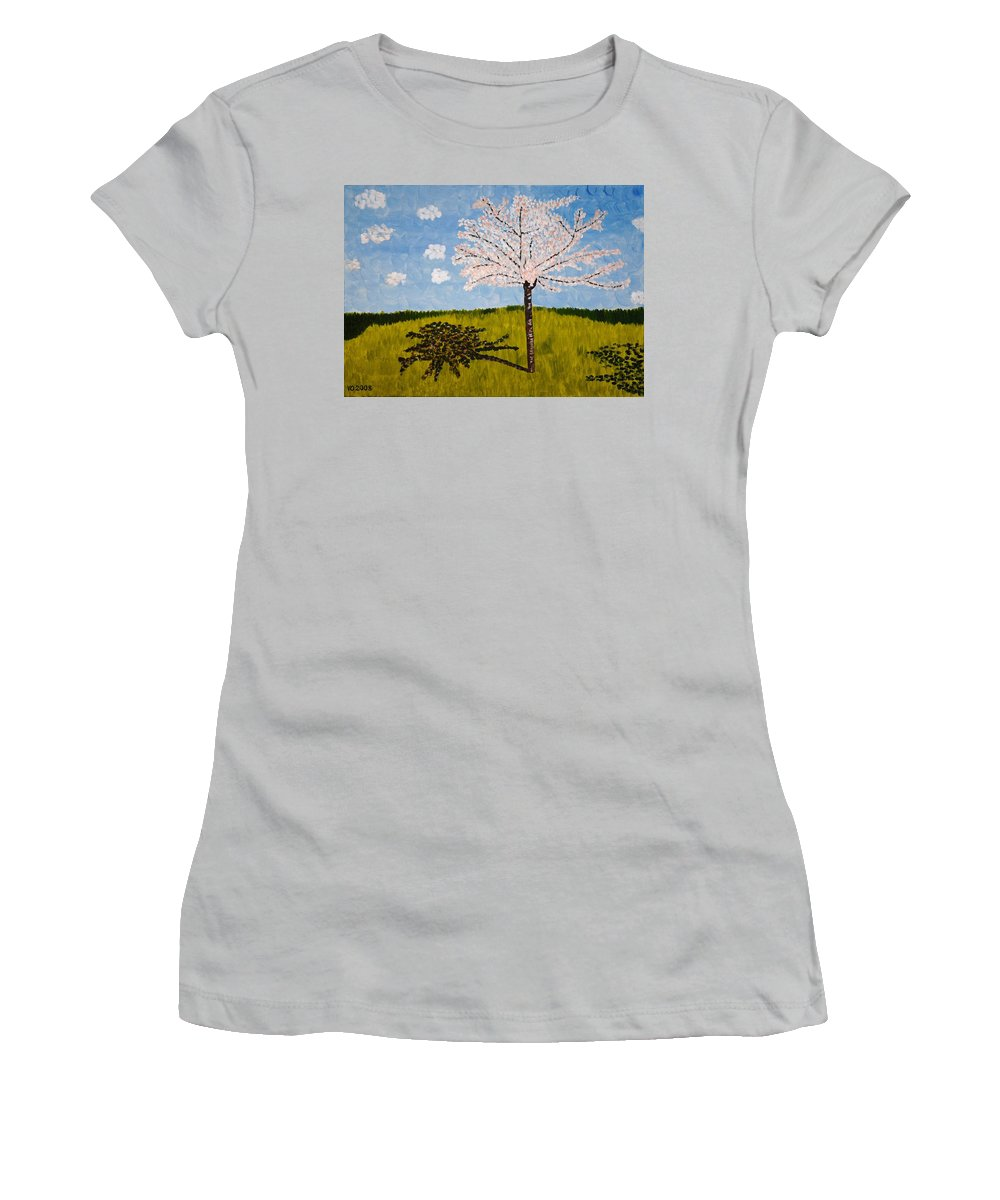 Cherry Women's T-Shirt (Athletic Fit) featuring the painting Cherry Blossom Tree by Valerie Ornstein