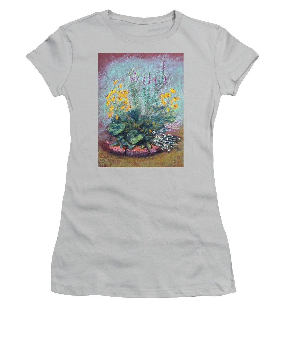 Flowers Women's T-Shirt (Athletic Fit) featuring the painting Christina's Garden by Laurie Paci