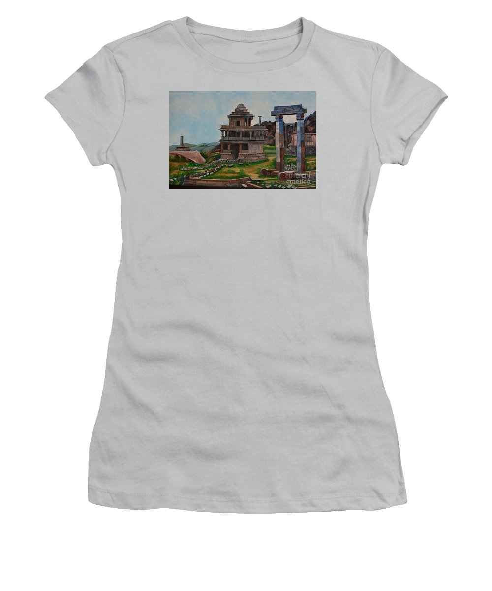 Landscape Women's T-Shirt (Athletic Fit) featuring the painting Cithradurga Fort by Usha Rai