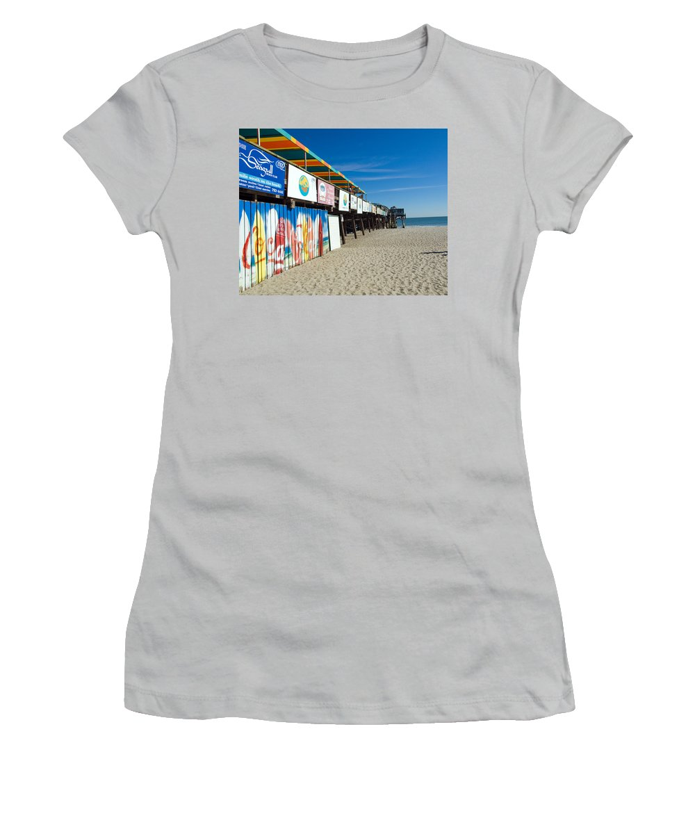 Florida; Cocoa; Beach; Atlantic; Ocean; East; Space; Coast; Brevard; Central; Pier; Surf; Surfing; F Women's T-Shirt (Athletic Fit) featuring the photograph Cocoa Beach Flotida by Allan Hughes