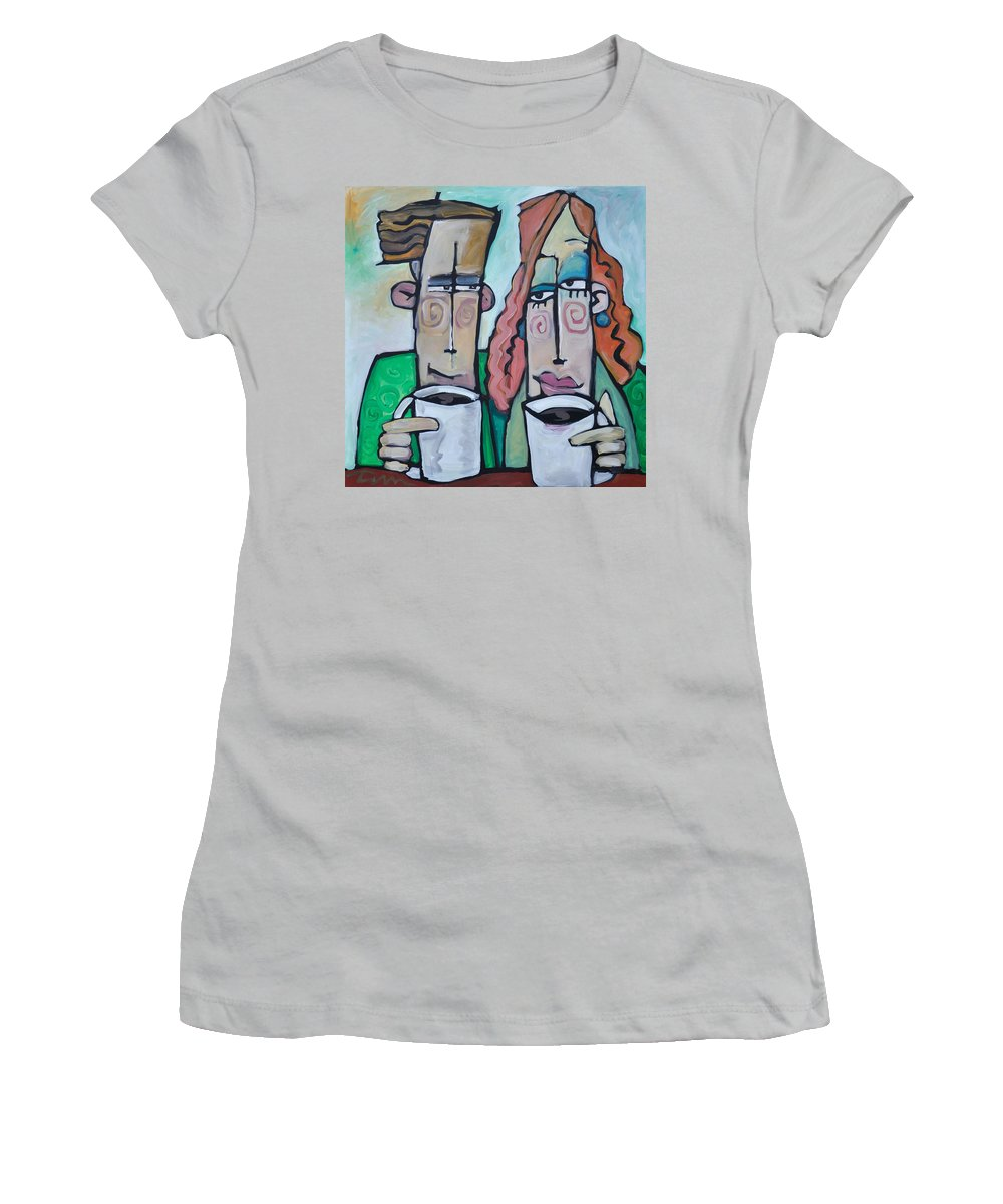 Coffee Women's T-Shirt (Athletic Fit) featuring the painting Coffee Date by Tim Nyberg