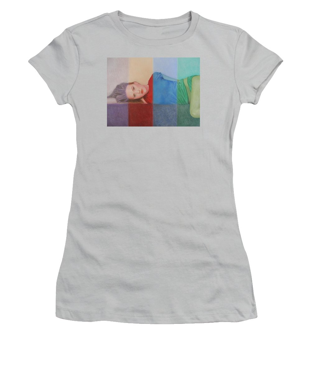 Woman Women's T-Shirt (Athletic Fit) featuring the painting Colorful Girl by Lynet McDonald