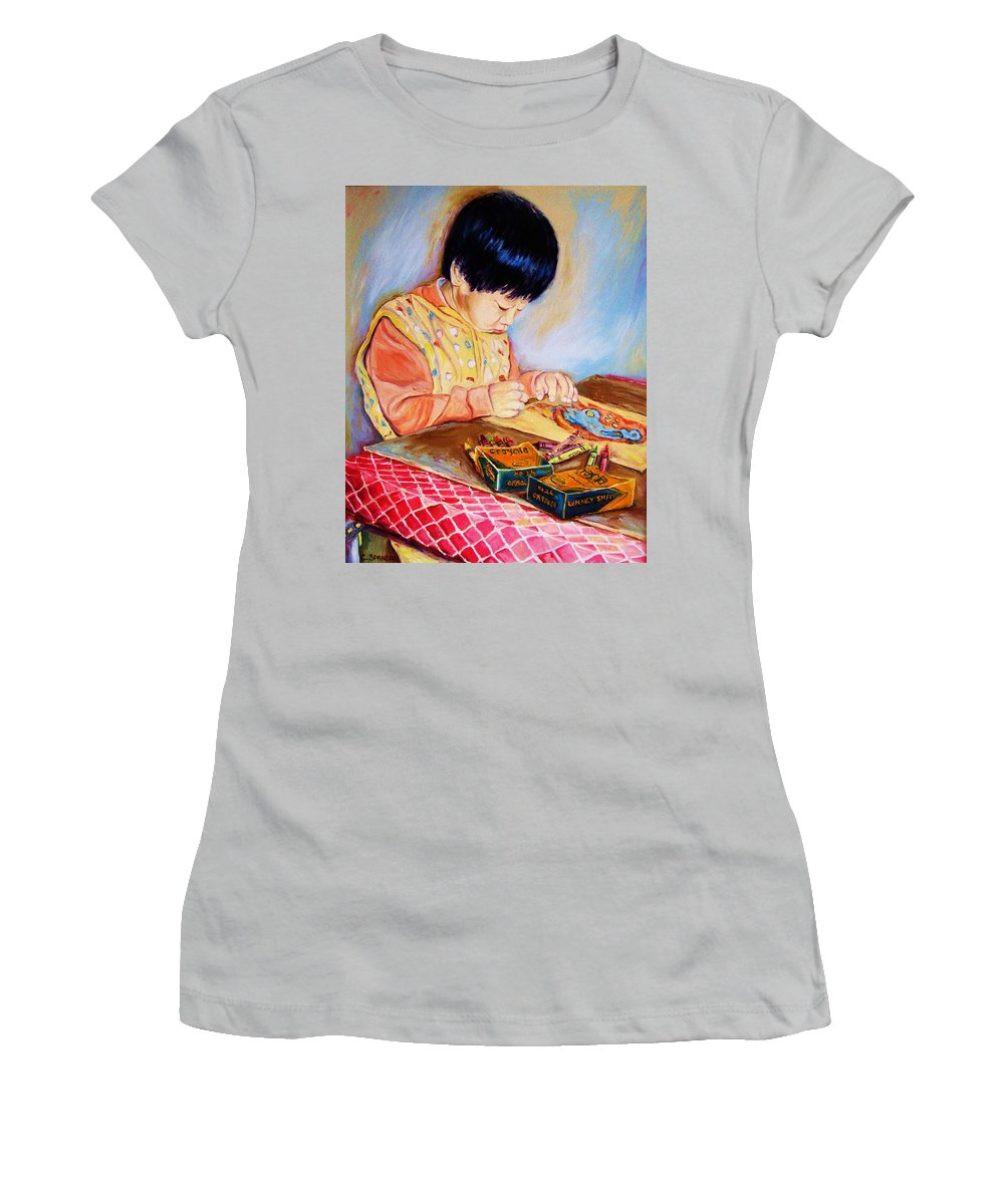 Beautiful Child Women's T-Shirt (Athletic Fit) featuring the painting Commission Portraits Your Child by Carole Spandau