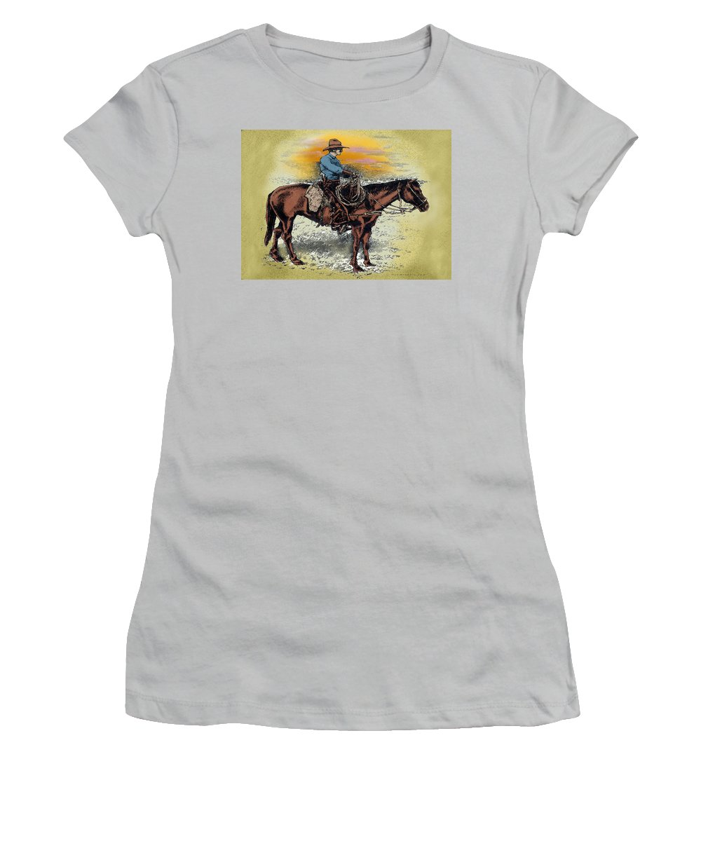 Cowboy Women's T-Shirt (Athletic Fit) featuring the painting Cowboy N Sunset by Kevin Middleton