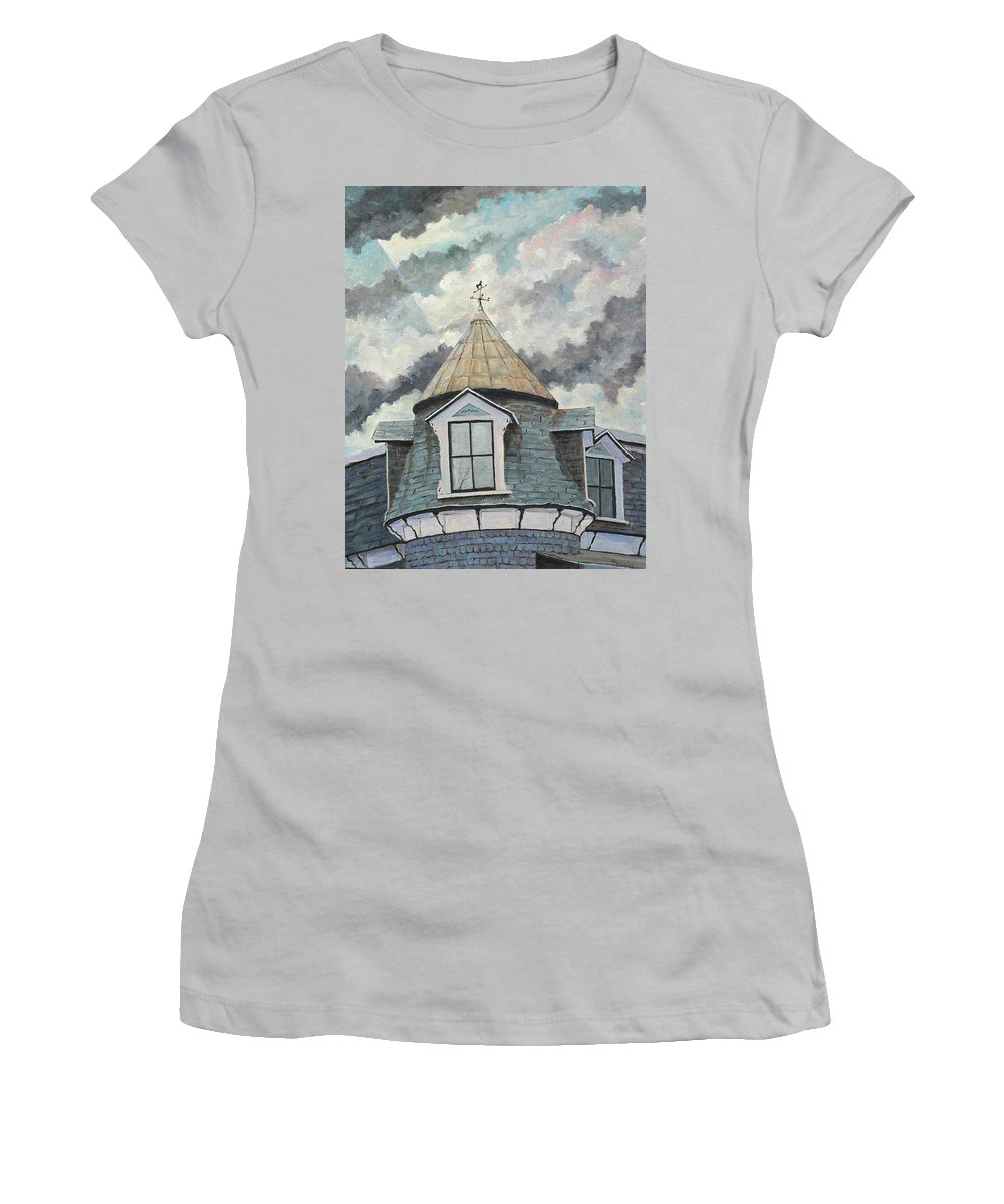 Art Women's T-Shirt (Athletic Fit) featuring the painting Crack The Sky by Richard T Pranke