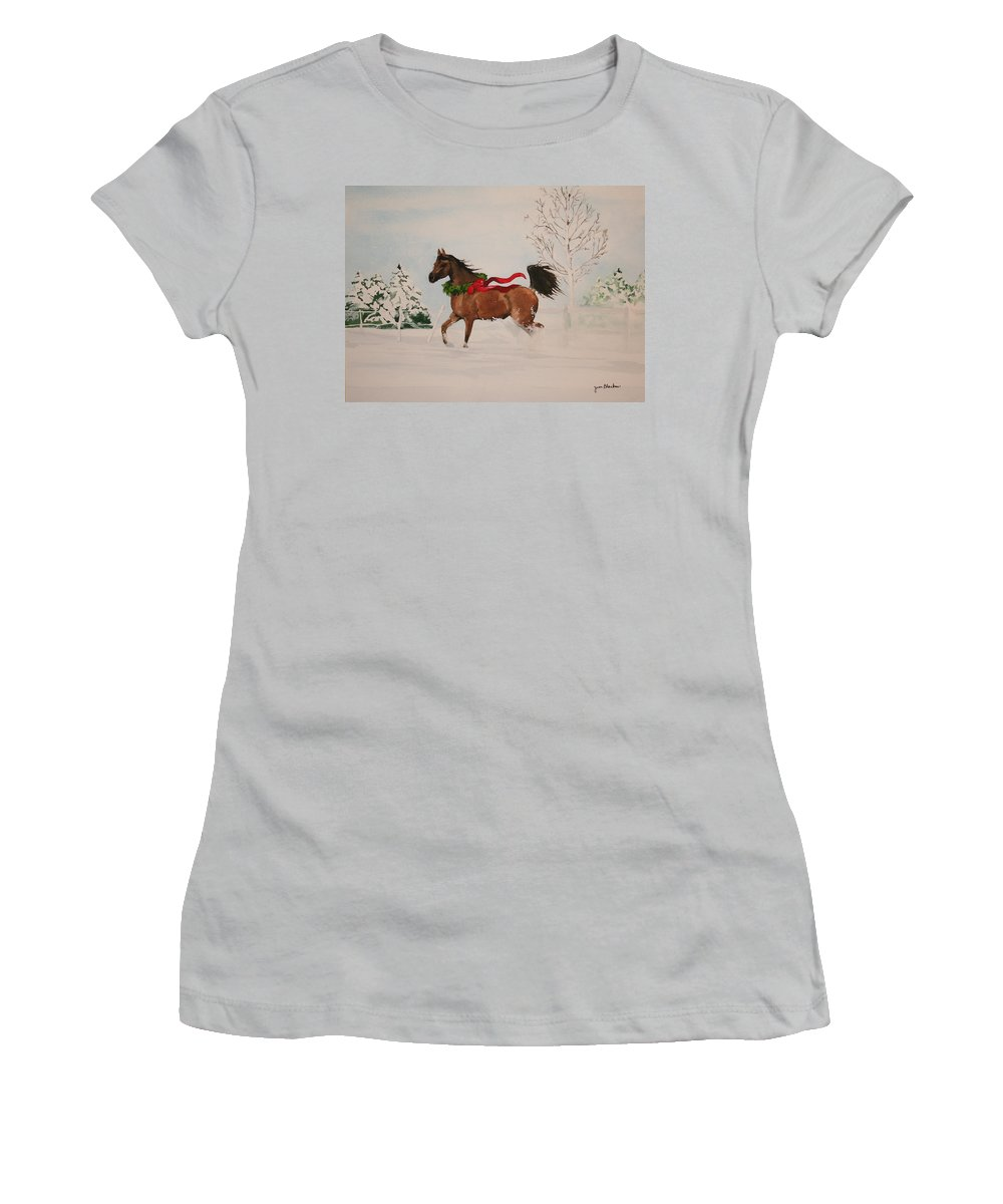 Horse Women's T-Shirt (Athletic Fit) featuring the painting Dashing Thru The Snow by Jean Blackmer