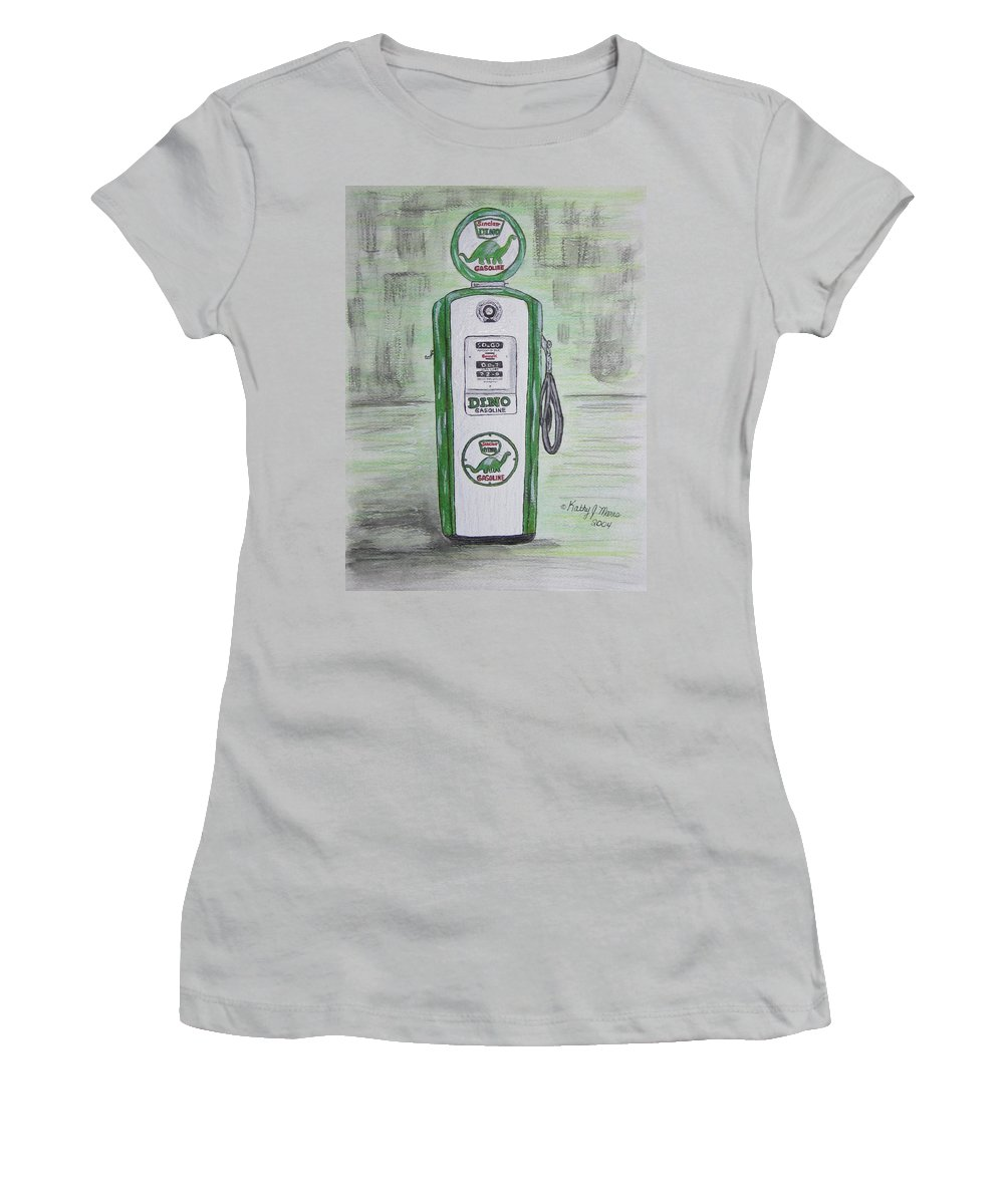 Dino Women's T-Shirt (Athletic Fit) featuring the painting Dino Sinclair Gas Pump by Kathy Marrs Chandler