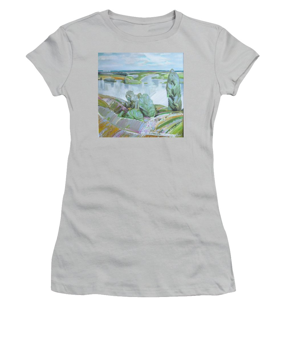 Landscape Women's T-Shirt (Athletic Fit) featuring the painting Dnepro River by Sergey Ignatenko