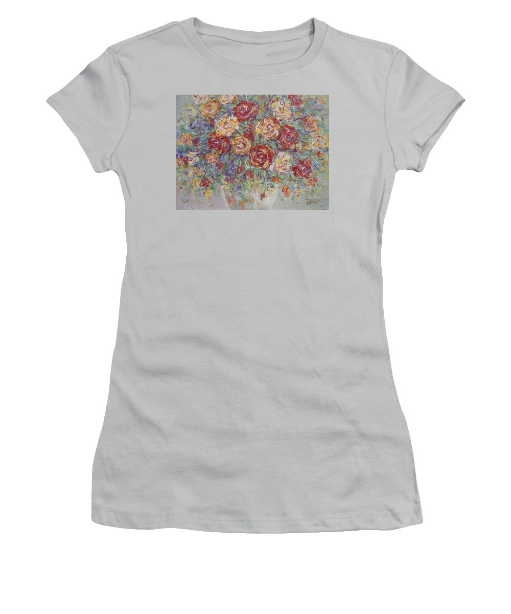 Flowers Women's T-Shirt (Athletic Fit) featuring the painting Double Delight. by Natalie Holland