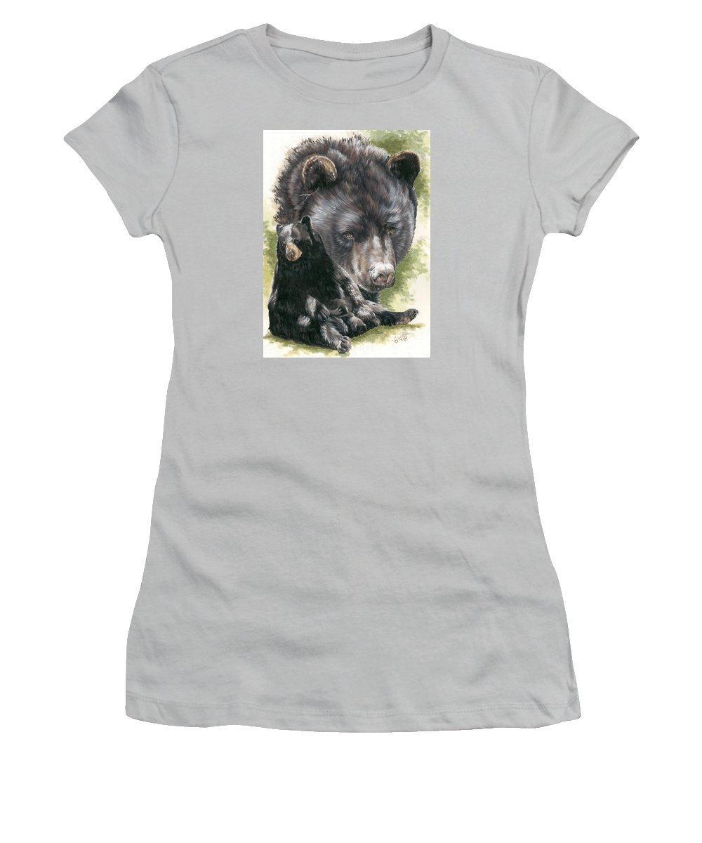 Black Bear Women's T-Shirt (Athletic Fit) featuring the mixed media Ebony by Barbara Keith