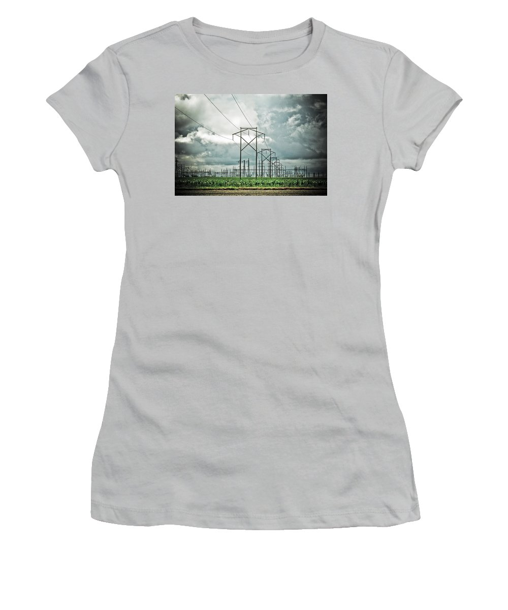 Electric Women's T-Shirt (Athletic Fit) featuring the photograph Electric Lines And Weather by Marilyn Hunt