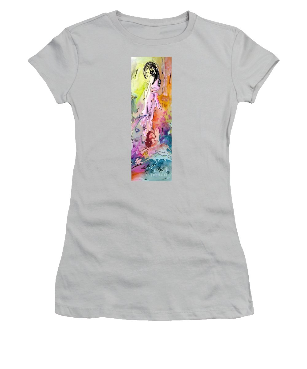 Miki Women's T-Shirt (Athletic Fit) featuring the painting Eroscape 09 1 by Miki De Goodaboom